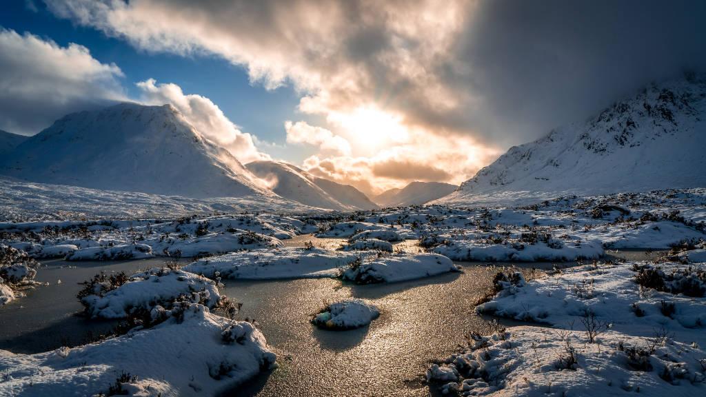 Glen Etive in winter snow scotland landscape photography