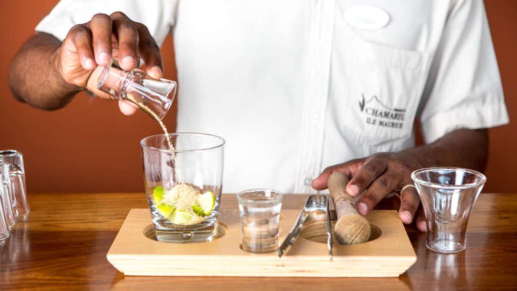Cocktail for rum tasting at Rhumerie de Chamarel, Mauritius